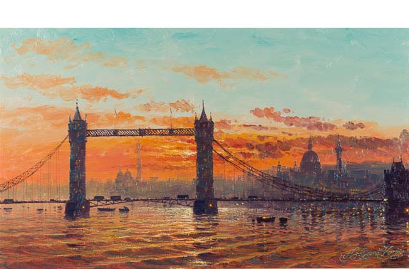 "Artist: Andrew Grant Kurtis - ""Sunshine Sparkle Across Tower Bridge"", original oil painting on canvas."