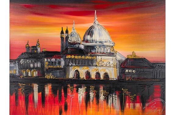 "Artist: Edward Waite, ""Sunset Over Venice"", original acrylic on canvas."