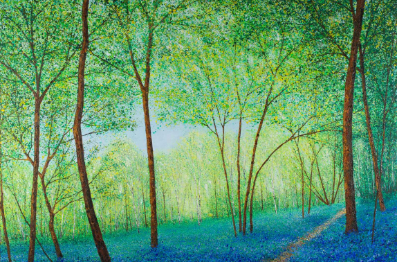 "Artist: Chris Bourne, ""Bluebell Way"", mixed media canvas."